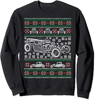 Hot Rod Ugly Christmas Sweatshirt Muscle Car Holiday