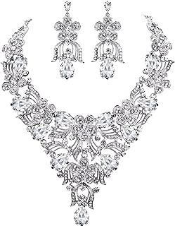Women's Austrian Crystal Elegant Flower Teardrop Necklace Earrings Set for Bride, Bridesmaid