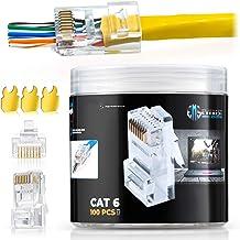 RJ45 Cat6 Pass Through Connectors Pack of 100/Jar | EZ Crimp Connector UTP Network Unshielded Plug for Twisted Pair Solid ...