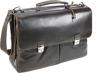 Bugatti Romano Aktentasche Groß, Laptoptasche aus echtem Leder, große Businesstasche 13, Bürotasche mit Laptopfach Braun