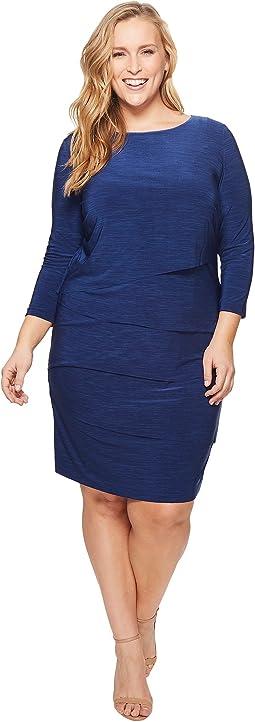 Plus Size 3/4 Sleeve Jersey Layered Sheath