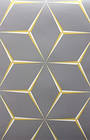 Grey Yellow 3d Geometric Wallpaper Glitter Shimmer Feature Wall From Y L Amazon Co Uk Diy Tools