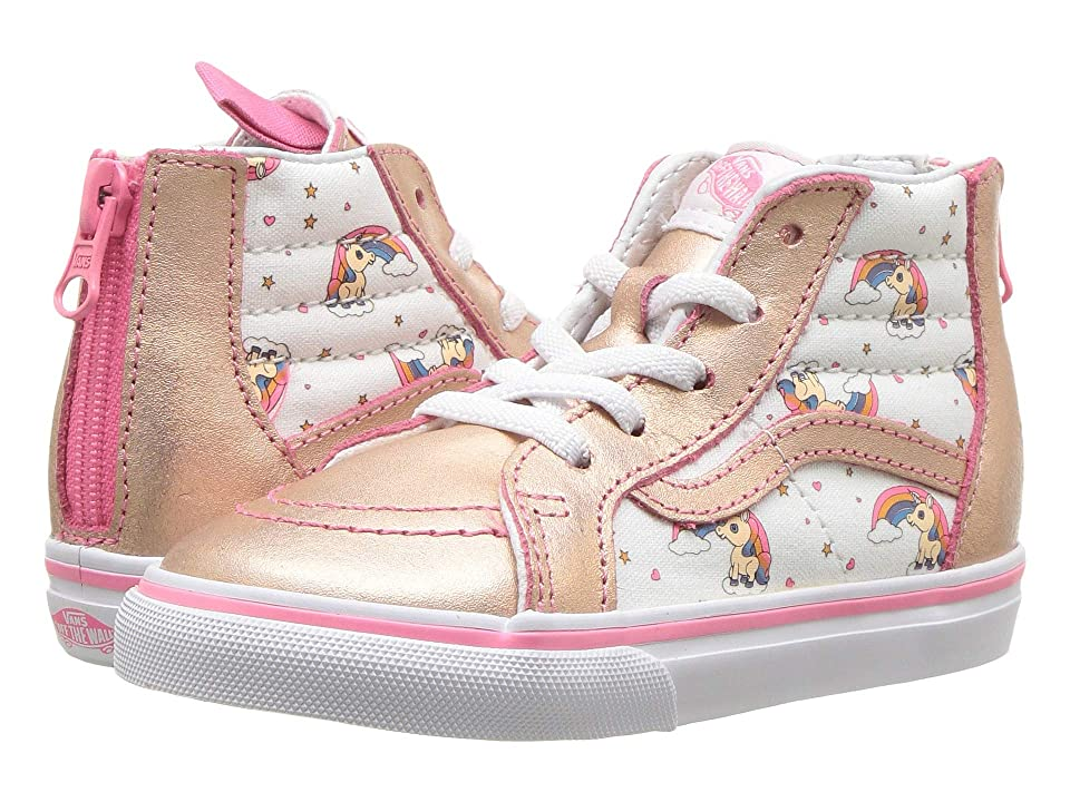 Vans Kids Sk8-Hi Zip (Infant/Toddler) ((Unicorn Rainbow) Pink Lemonade/True White) Girls Shoes