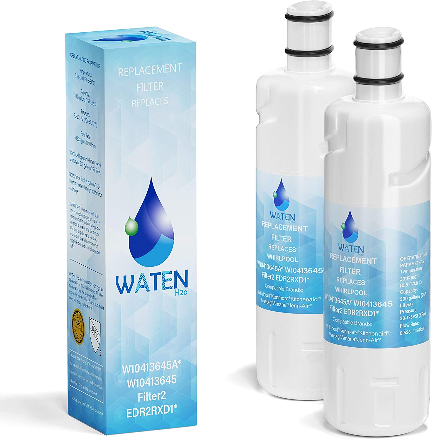 1-Pack B-F Replacement W-10413-645A Water Filter 2 Compatible with W-10413645-a Refrigerator Water Filter 2