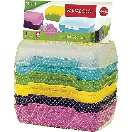 Emsa 509388 Lot de 3 pains, 6 demi-coques combinables - Multicolore - 16 x 11 x 14 cm