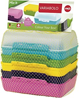 """Emsa 509388 Sandwich Box Set """"Variabolo"""" with 6 Half-Bowls 3Piece In Assorted Colours,, Multicoloured"""