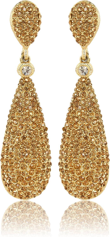 Moonstruck Costume Jewelry Women's Champagne Diamond Golden Dangle Drop Earrings