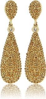 Costume Jewelry Women's Champagne Diamond Golden Dangle Drop Earrings
