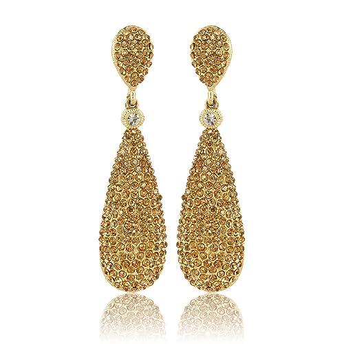 afe714e71 Moonstruck Costume Jewelry Women's Champagne Diamond Golden Dangle Drop  Earrings
