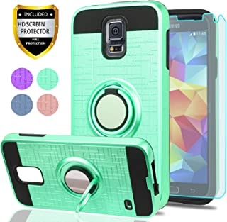 S5 Case,Galaxy S5 Phone Case with HD Screen Protector, YmhxcY 360 Degree Rotating Ring & Bracket Dual Layer Shock Bumper Cover for Samsung Galaxy S5 (I9600)-ZH Mint