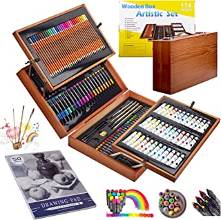 174 PCS Portable Inspiration & Creativity Coloring Art Set Deluxe Painting & Drawing Supplies with Wood Box