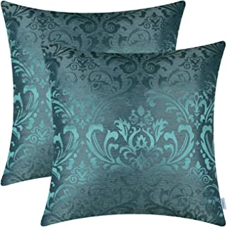 Pack of 2 CaliTime Throw Pillow Covers Cases for Couch Sofa bedandbath Decoration Vintage Damask Floral Shining & Dull Con...