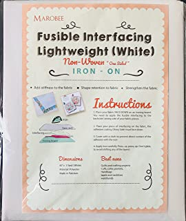 MAROBEE White Fusible Interfacing Lightweight Non-Woven for Sewing and Webbing Projects, Ultra Adhesive Bond Iron-On One S...