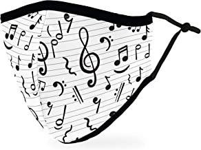 Weddingstar 3-Ply Adult Washable Cloth Face Mask Reusable and Adjustable with Filter Pocket - Music Notes