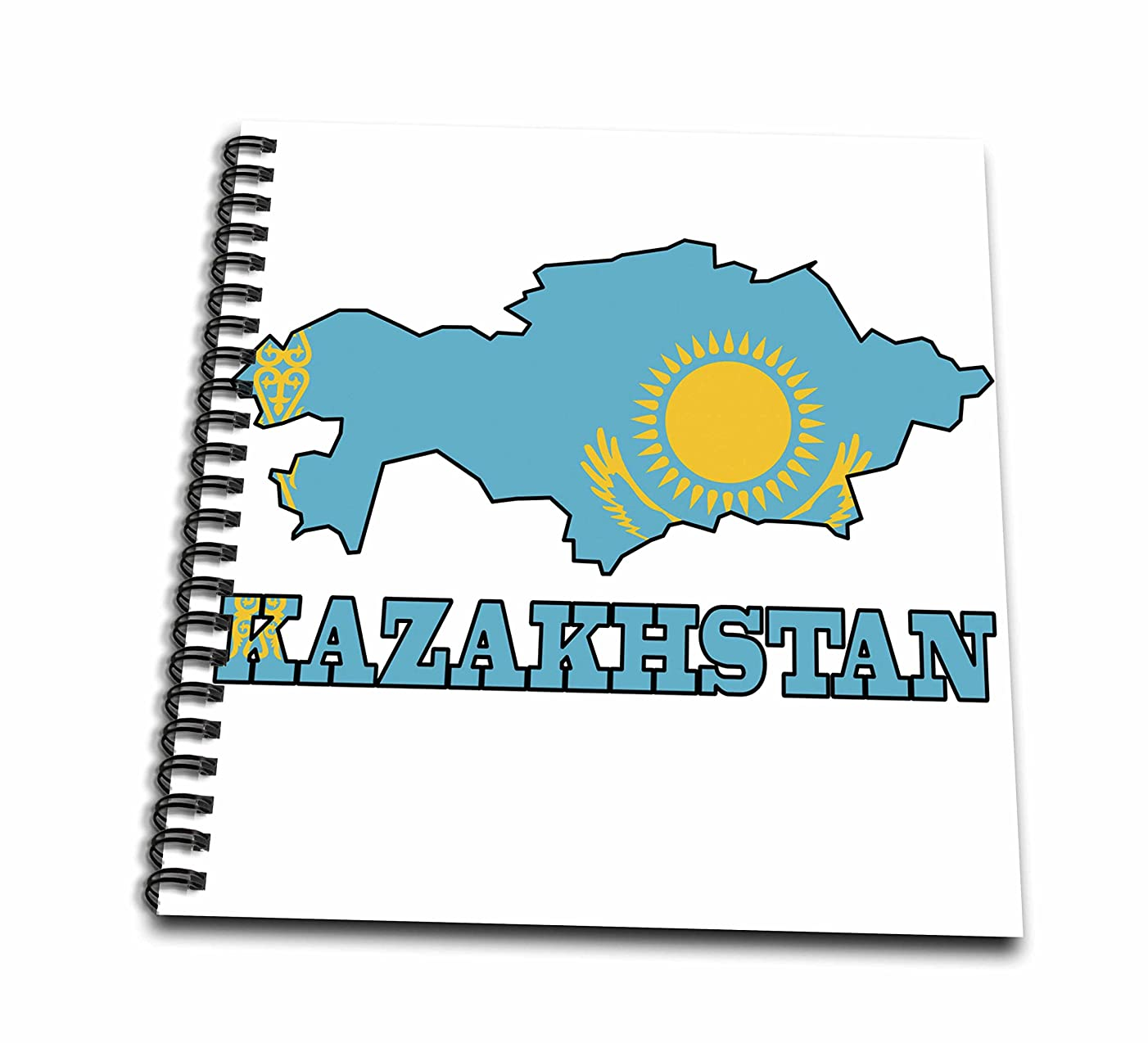 3dRose db_63169_1 The Flag of Kazakhstan in The Outline Map of The Country and Name, Kazakhstan Drawing Book, 8 by 8-Inch