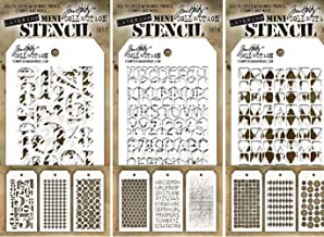Tim Holtz - Nine Mini Layering Stencils - Numeric, Houndstooth, Rings, Honeycomb, Schoolhouse, Dot Fade, Tiles, Harlequin and Splotches - aka sets 7, 8 & 9
