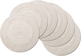 SHACOS Round Placemats Set of 6 Cotton Placemats Washable 15 inch Table Mats for Kitchen..