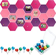 21 Pieces Pin Board Hexagon Felt Board Tiles Bulletin Board Memo Board Notice Board with 40 Pieces Push Pins for Home Offi...
