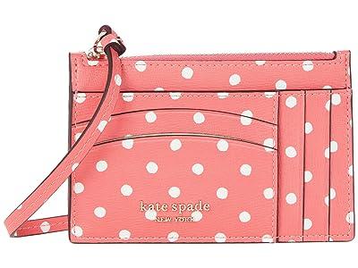 Kate Spade New York Spencer Dots Card Case Wristlet (Peach Melba Multi) Wallet Handbags