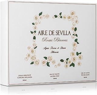 Instituto Español Set Perfume Mujer Rosas Blancas - Aire de Sevilla - EDT Crema Hidratante Gel de Ducha