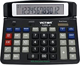 Victor 1200-4 12-Digit Large Professional Desktop Calculator, Battery and Solar Hybrid Powered Tilt LCD Display, Great for... photo