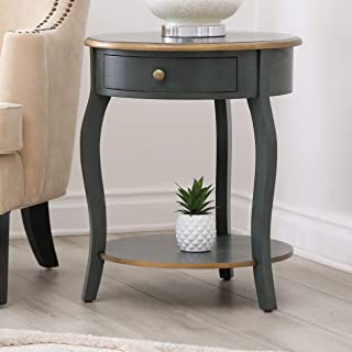 Vintage Looking Three Legged Wood End Table, Turquoise/Antique Brass