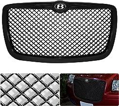 For Chrysler 300 300C B Bentley Logo Emblem Badge Black Diamond Mesh Front Hood Bumper Grille Grill Replacement Upgrade