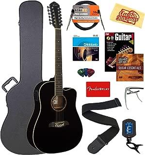 Oscar Schmidt OD312CEB-A-U 12-String Dreadnought Acoustic-Electric Guitar - Black Bundle w/Case, Cable, Strings, Tuner, Strap, Picks, Instructional Book, DVD, Capo, and Austin Bazaar Polishing Cloth