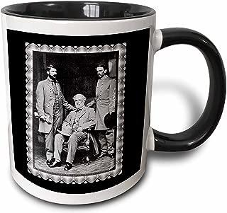 3dRose Generals Robert E Lee, Curtis Lee and Colonel Walter Taylor by Mathew Brady 1865 Civil War Photo - Two Tone Black Mug, 11oz (mug_160767_4), 11 oz, Black/White