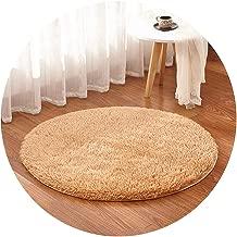Show-Show-Fashion&Multicolor Soft Shaggy Area Round Rug Living Room Carpet Bedroom Floor Mat Carpet Diameter 30cm-160cm Home Decoration,Diameter 40cm,Khaki