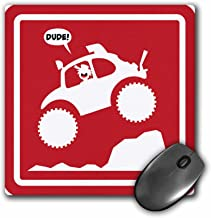 3dRose Mark Grace SCREAMNJIMMY stickman baja bug jumping – this baja bug is racing and jumping off road, featured on a red warning sign – MousePad (mp_124085_1)