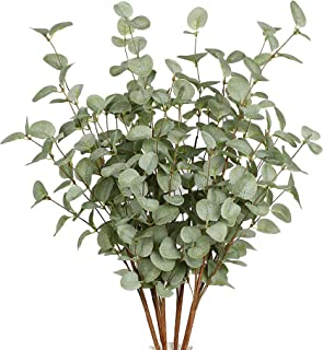 6 Pcs Artificial Greenery Stems Eucalyptus Leaf Spray in Green Greenery Stems Silk Plastic Plants Floral for Home Party We...