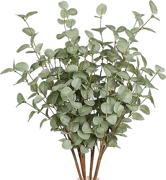 VGIA 6 件装人造绿色植物茎桉树叶喷雾绿色丝绸塑料植物花卉绿色植物茎家居派对婚礼装饰