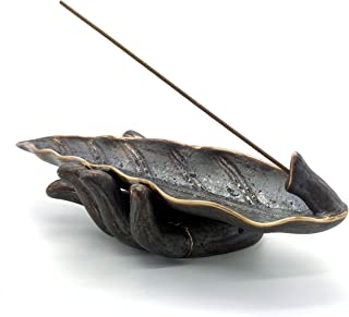 NAGU Incense Stick Holder, Buddha Hand Ceramic Incense Ash Tray, Long Leaf Shape Incense Burner, Yoga Meditation Home Deco...
