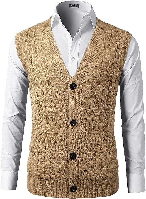 1950s Men's Clothing COOFANDY Mens Slim Fit V-Neck Cable Knit Sweater Vest with Front Button  AT vintagedancer.com