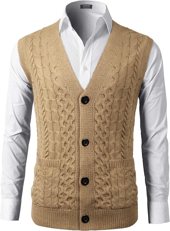 COOFANDY Men V Neck Sweater Vest Sleeveless Knit Causal Buttons