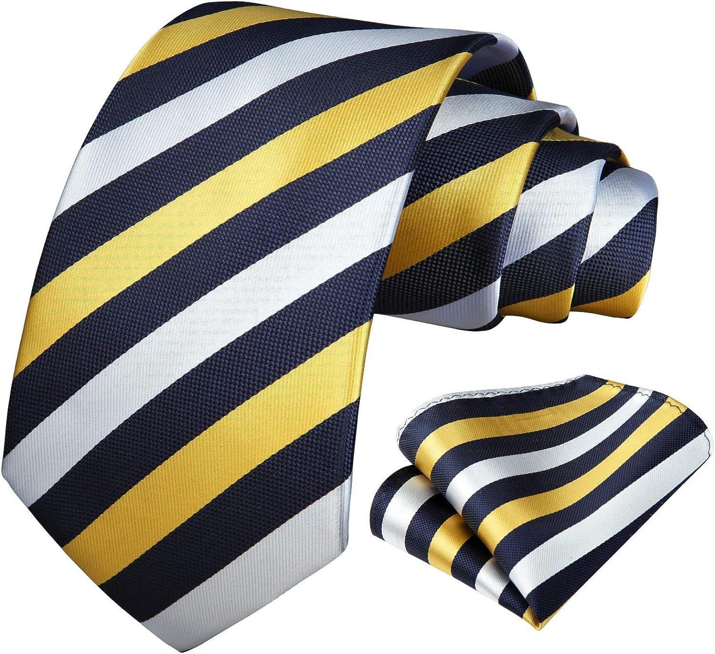 BIYINI Striped Tie for Men Handkerchief Woven Classic Men's Necktie & Pocket Square Set Formal Wedding