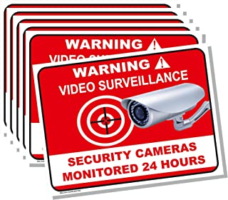Malkan Signs Warning Video Surveillance Vinyl Stickers 6-Pack 8x6 Inches/Security Cameras Monitored 24 Hours/Non-Fade Colors, Durable, UV Protected, Easy Mount and Waterproof - Red