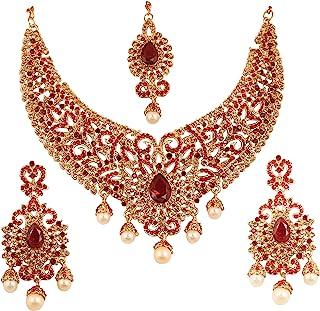 NEW! Touchstone Indian Bollywood Desire Charming Studded Diamond Look Fine Filigree Yellow Red Rhinestones Heavy Bridal je...