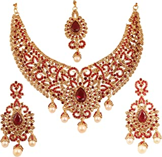 Indian Bollywood Bridal Jewelry Necklace in Antique Gold Tone for Women