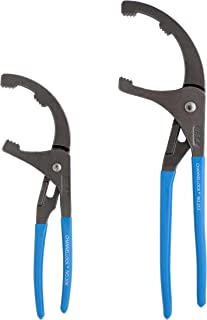 Channellock OF-2 2 Piece Oil Filter & PVC Pliers |12-Inch & 9-Inch | Ideal for Engine Filters, Conduit, and Fittings | Forged from High Carbon Steel | Made in the USA