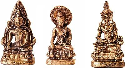 Purpledip Rare Miniature Statue Set Lord Buddha in 3 Different Poses, Unique Collectible Gift (11408)