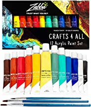 Crafts 4 ALL Acrylic Paint Set 12 Colors Perfect for Canvas, Wood, Ceramic, Fabric. Non Toxic & Vibrant Colors. Rich Pigme...