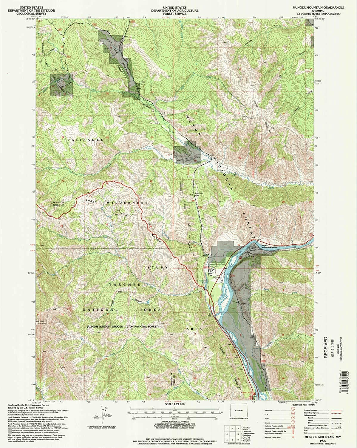 Munger Mountain WY topo map, 1 24000 Scale, 7.5 X 7.5 Minute, Historical, 1996, Updated 1998, 26.8 x 21.3 in
