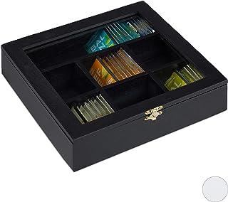 Relaxdays 10027981_46 Caja para Té e Infusiones, Siete Compartimentos, para 100 Bolsitas, 6 x 25 x 25.5 cm, 1 Ud, Negro