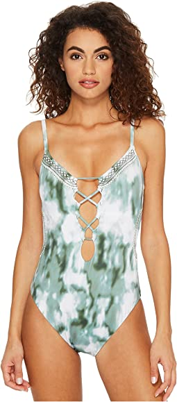 Lucky Brand Indian Summer Over the Shoulder Monokini One-Piece