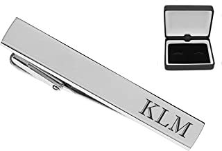 Engraved Hand Polished Rectangular Tie Clip Stainless Steel