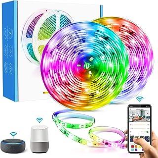 Aerb 10M WIFI Tira LED RGB, Luces LED Smart de 16 millones de colores, Sync con Música, Control de voz, Program Persanalizado, Compatibles con Alexa y Google Assitant, Echo, Para Decoración