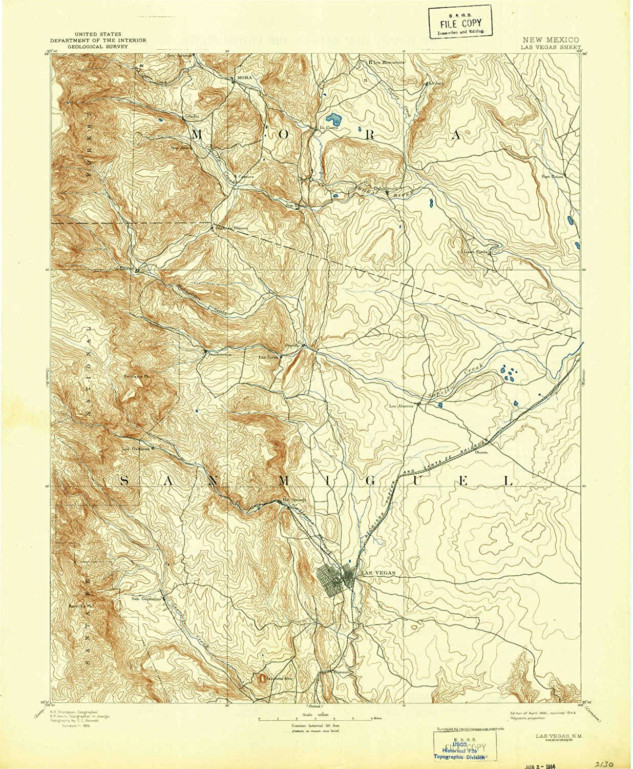 Las Vegas NM topo map, 1 125000 Scale, 30 X 30 Minute, Historical, 1893, Updated 1944, 20.7 x 17 in
