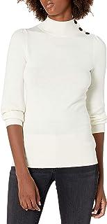 Lark & Ro suéter de cueelo de Tortuga con botón de Manga Larga Puff de Cachemira sintética Suéter para Mujer